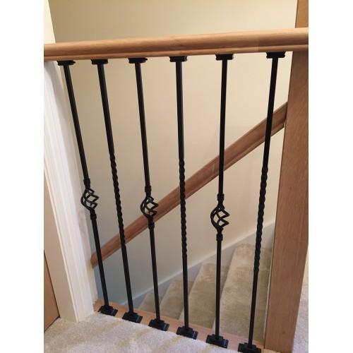 1 Single Black Iron Metal Barley Twists Baluster Balustrade Stair Spindle  1m Long X 12mm Plain Bars