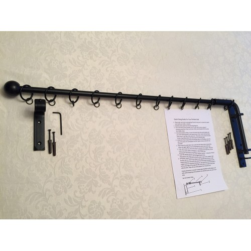 Iron Metal Swinging Door Curtain Pole Rod Crane Drapery Arm Portiere Rods  In Black Or Gunmetal