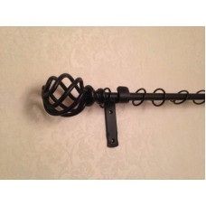 16mm  Wrought Iron Curtain Pole Set With Cage Finials