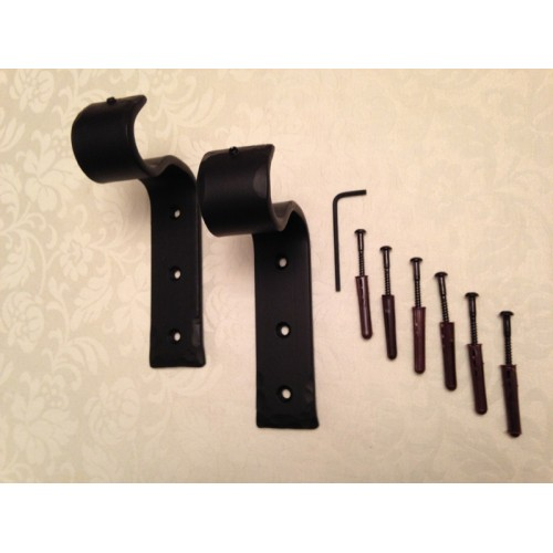 Black Very Heavy Duty 30mm Wrought Iron Metal Wall Brackets